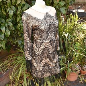 SNIDEL JAPANESE LACE OVER NUDE SZ SM DRESS